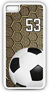 iPhone 7 Plus 7+ Phone Case Soccer SC047Z by TYD Designs in White Rubber Choose Your Own Or Player Jersey Number 53