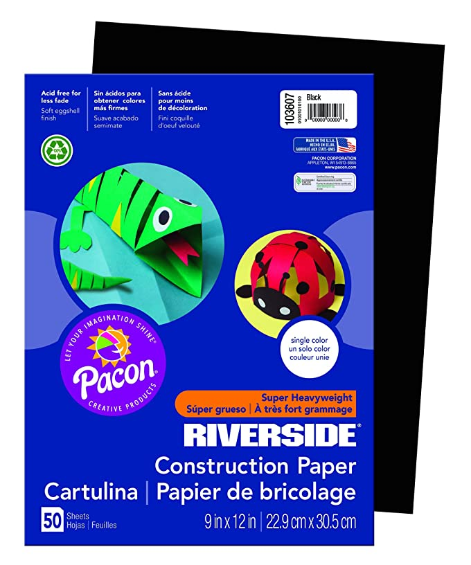 Riverside 3D Construction Paper, 9 x 12 Inches, Black, Pack of 50