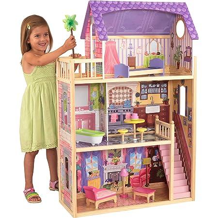 KidKraft 65092 Casa delle Bambole in Legno Kayla per Bambole di 30 Cm con 10 Accessori Inclusi e 3 Livelli di Gioco