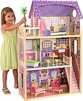منزل الدمى الخشبي مع الأثاث والملحقات المرفقة من كيد كرافت، مجموعة لعب من ثلاثة طوابق للدمى بطول 30 سم / 12 انش