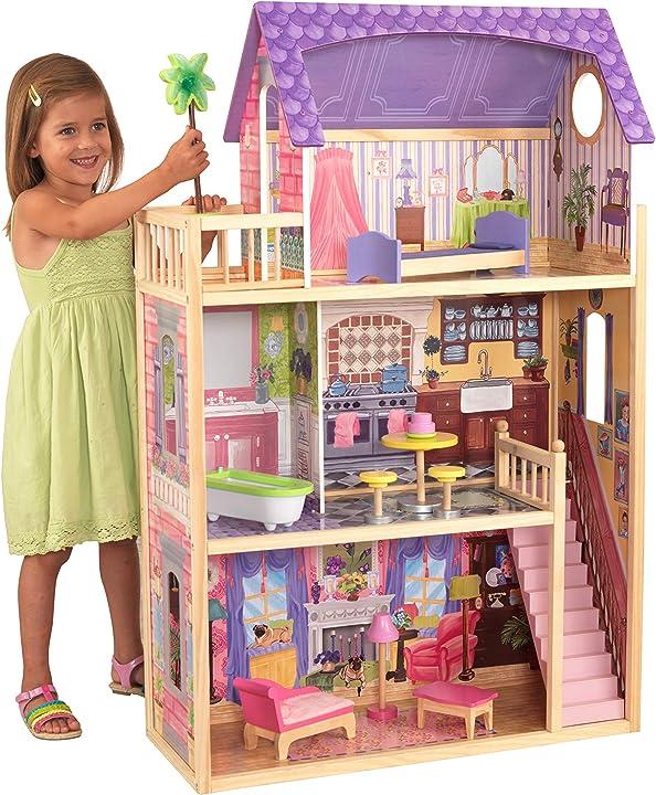 Casa bambole in legno kayla di 30cm con 10 accessori inclusi e 3 livelli di gioco, multicolore  kidkraft 65092