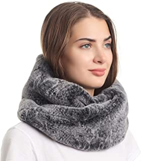 Women's Winter Snakeskin Print Faux Fur Infinity Scarf Loop Circle Neck Warmer