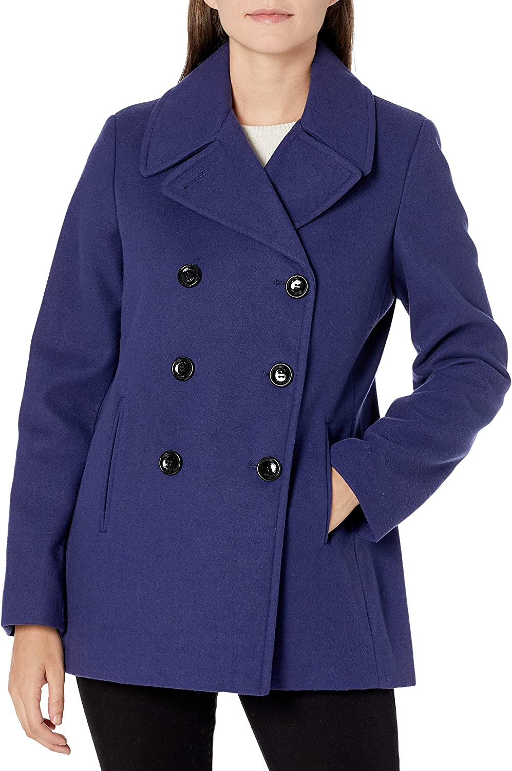 Calvin Klein Womens Double Faux Peacoat Wool Manufacturer direct delivery Lowest price challenge Breasted