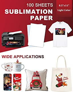 Sublimation Paper 100 Sheets 8.5 x 11 Inches, for Any Inkjet Printer with Sublimation Ink Epson, HP, Canon Sawgrass, Heat ...