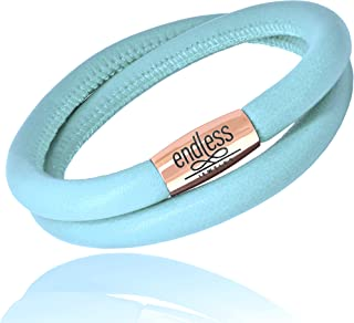 Endless Jewelry Double Wrap Light Blue Leather Rose Gold Tone Steel Magnetic Clasp 12711-38 (7.5 Inches)