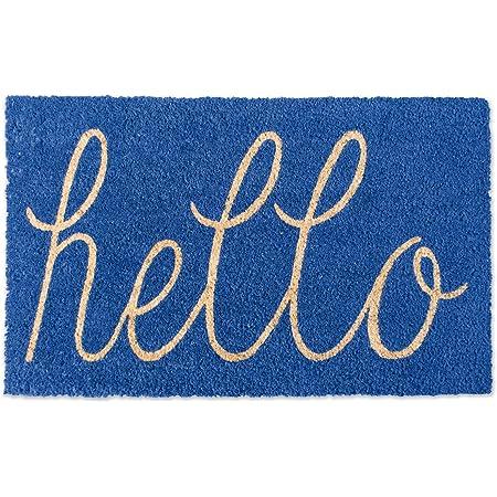 DII Hello Coir Fiber Doormat Non-Slip Durable Outdoor/Indoor, Pet Friendly, 18x30, Blue