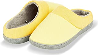 Slippers for Women's Memory Foam Deluxe Clog Scuff/Mule House Slip-Ons for Indoor & Outdoor Use| Warm & Fuzzy w/Quilted Jacquard Terry Lining, Knit Collar Slipper & Anti-Skid Hard Sole