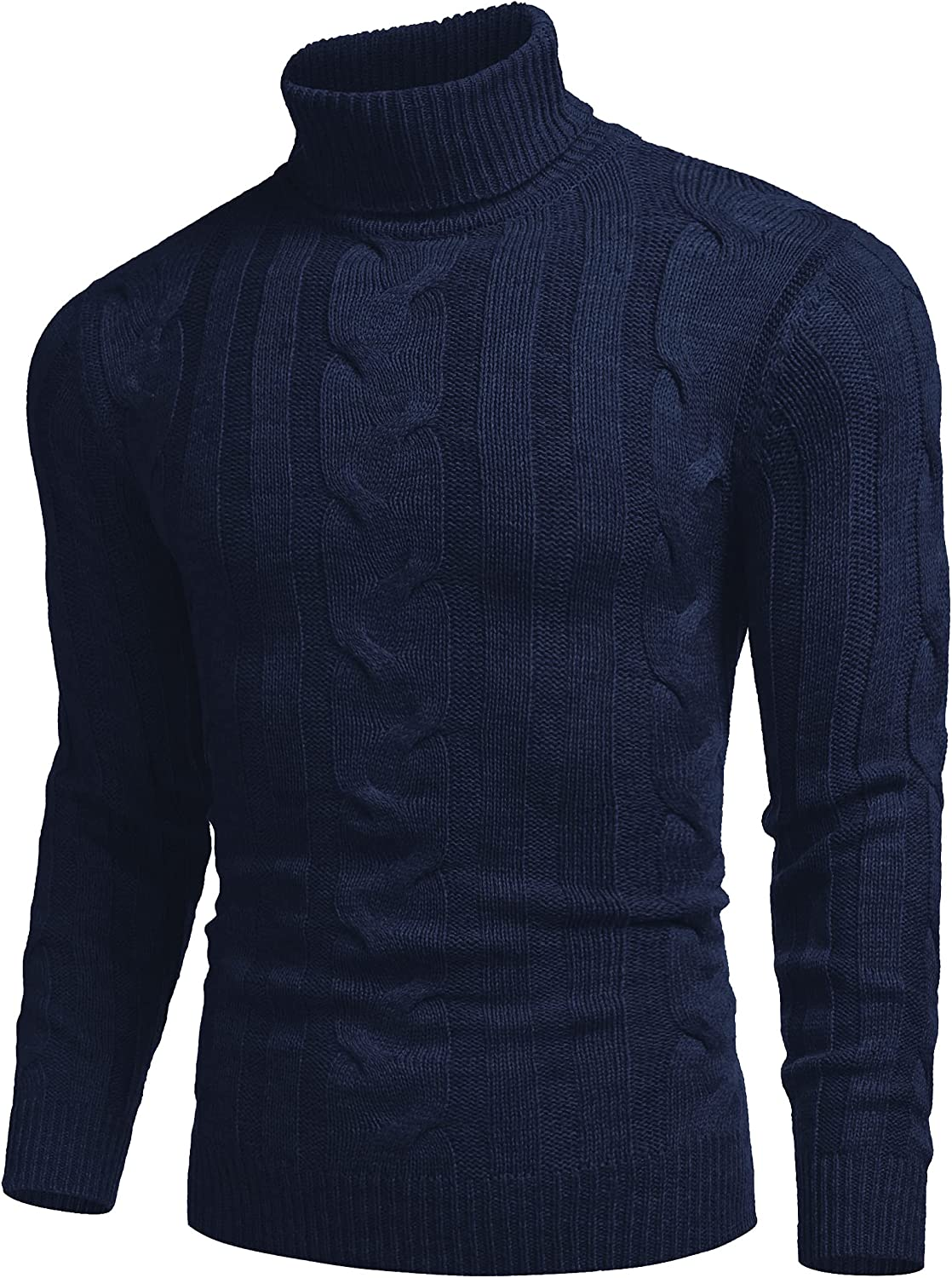 COOFANDY Men's Ribbed Turtleneck Slim Fit Casual Cable Knitted Pullover Sweaters