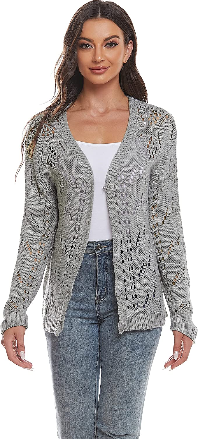 ISOMEI Women's Crochet Hollow Out Button Lightweight V Neck Knit Cardigan Sweaters