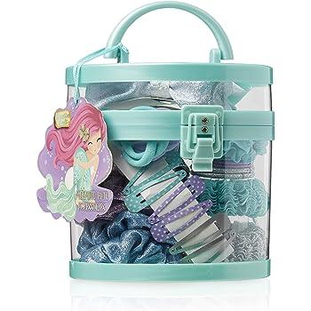 Handmade filles turquoise et mauve imprimé double Hair Bow Bobbles vendus par paires