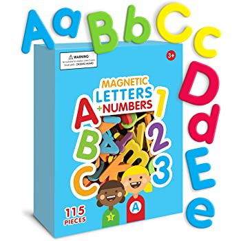 Curious Columbus Magnetic Letters and Numbers. 115 ABC Magnets. Foam Alphabet Letters Plus Numbers. Educational Toy for Kids for Pre-K Preschool Spelling Games and Counting Games