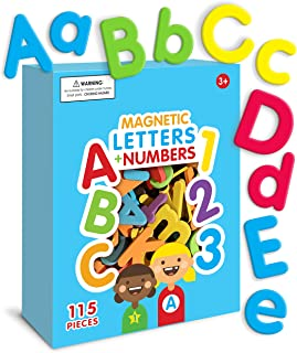 Curious Columbus Magnetic Letters and Numbers. Set of 115 Premium Quality ABC, 123 Colorful Foam Alphabet Magnets Best Edu...