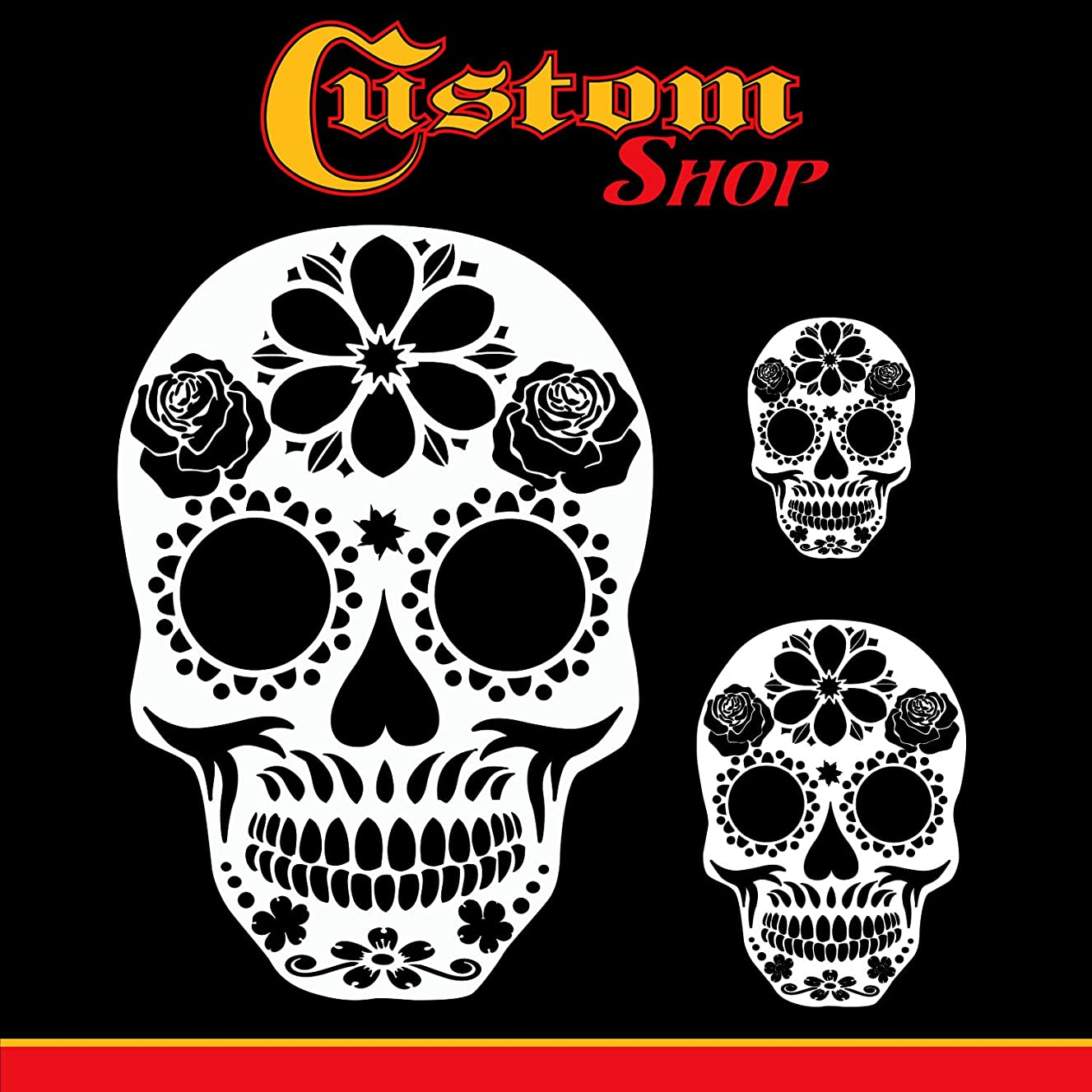 Custom Shop Airbrush Sugar Skull Day of The Dead Stencil Set (Skull Design #14 in 3 Scale Sizes) - Laser Cut Reusable Templates