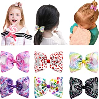 Hair Bows for Girls, ESILIA Hair Clips Girls Hair Accessories, 6pcs 4.5'' Mini Cute Hand-made Grosgrain Ribbon Kid Bow, Rainbow Star Heart Hair Pin for Baby Toddler Girls Pet Dress with Gift Package