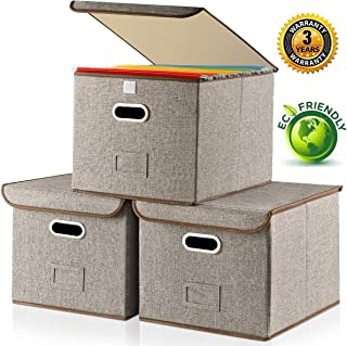 Large Storage File Box with Lid [3-Pack] Collapsible Linen Fabric Storage Filing Box Organizer Decorative,Letter Legal Size,Gray,Office(15