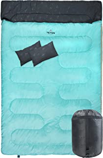 TETON Sports Cascade Double Sleeping Bag; Queen Size Sleeping Bag for Backpacking, Camping, Hiking, and Travel; with 2 Pillows; Lightweight Mammoth Double Bag; Teal; Compression Sack Included