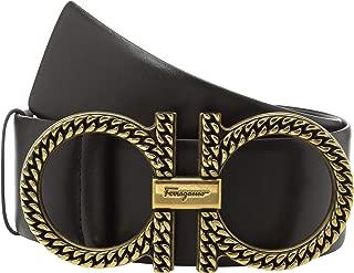 Salvatore Ferragamo Women's Adjustable Gancini Belt w/Gold Hardware Nero 85 (34