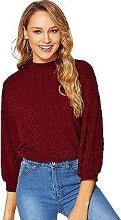 Verdusa Women's 3/4 Sleeve Mock Neck Rib-Knit Tunic Pullovers Top