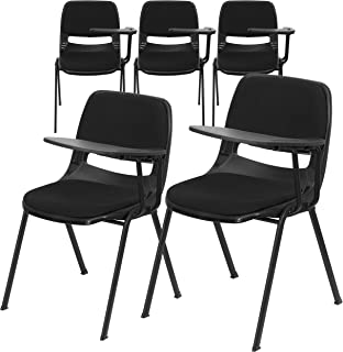 Flash Furniture 5 Pk. Black Padded Ergonomic Shell Chair with Left Handed Flip-Up Tablet Arm
