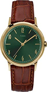 34 mm Marlin Handwind Gold-Tone SST Case Green Dial Brown Strap
