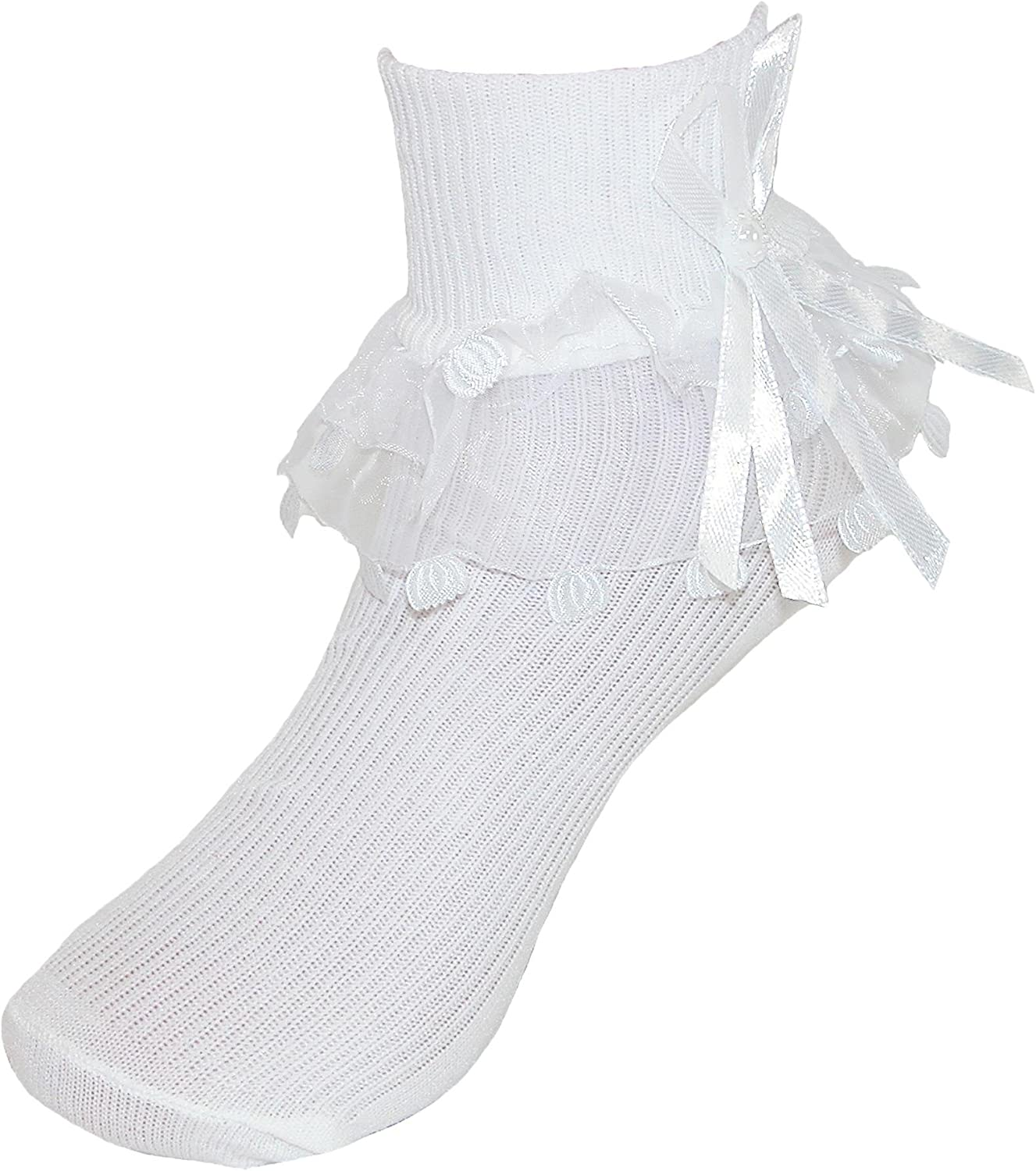 CTM Girls' Ruffle Trim Lace Anklet Socks (3 Pair Pack)