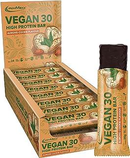 IronMaxx Vegan 30 Proteinriegel - Box mit 24x 35g Riegel - Geschmack Almond Cookies - 100% veganer Eiweiß-Riegel - High Pr...