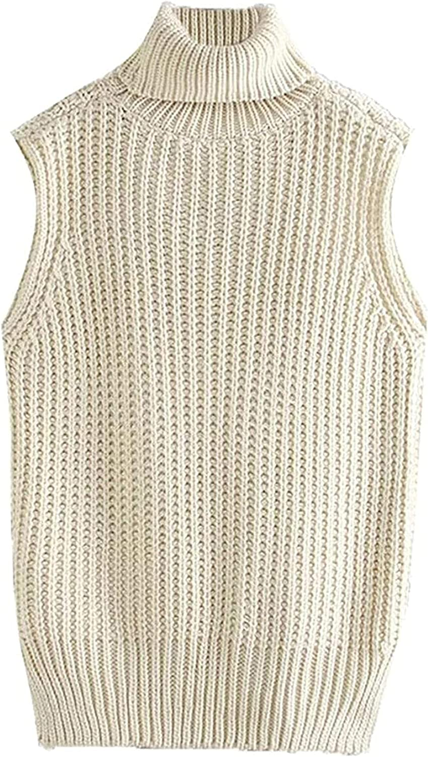 Women Fashion Loose Max 85% OFF Cable-Knit Vest Sweater High Vintage Neck Sl Fresno Mall