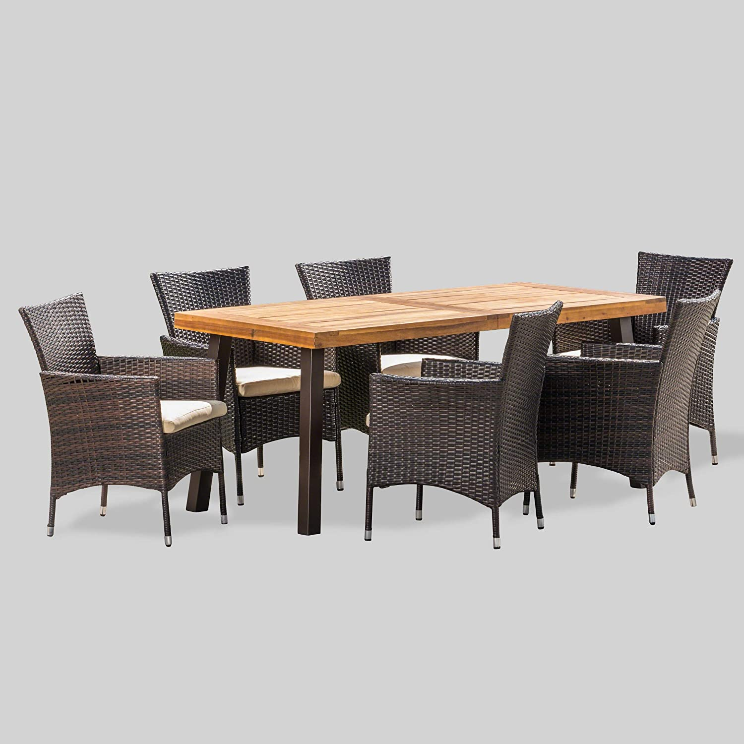 Christopher Knight Home Randy   Outdoor 9 Piece Acacia Wood and Wicker  Dining Set with Cushions   Teak Finish   in Multibrown/Beige, Rustic Metal