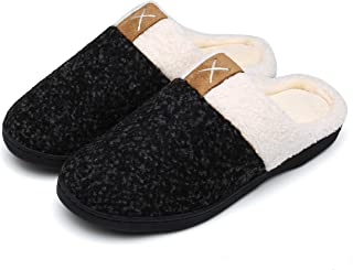 Womens Mens Slippers Memory Foam Comfort Fuzzy Plush Lining Slip On House Shoes Indoor Outdoor