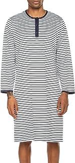 Ekouaer Pajama Gown Mens Sleeping Nightgown Long Sleeve Nightshirts Crewneck Comfy Long Gown (Navy, X-Large)