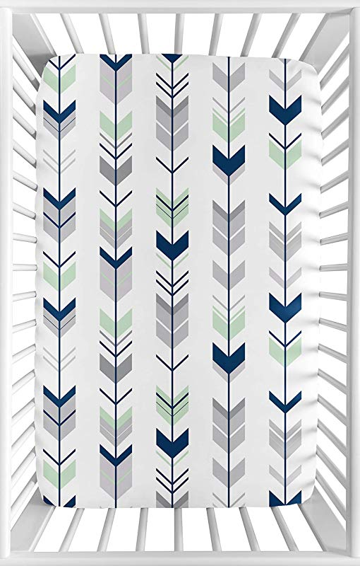 Sweet Jojo Designs Navy Grey And Mint Baby Boy Or Girl Unisex Fitted Mini Portable Crib Sheet For Mod Arrow Collection For Mini Crib Or Pack And Play ONLY