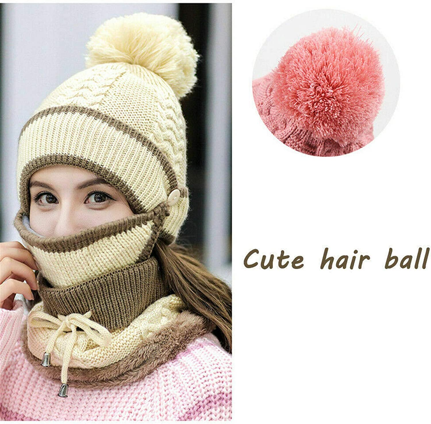Winter Hat Scarf Knitted Set Touch Screen Gloves for Men Women 4 ...