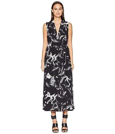 Adam Lippes Printed Pebble Chiffon Sleeve V-Neck Short Dress w/ Rouc (Black Pony) Women