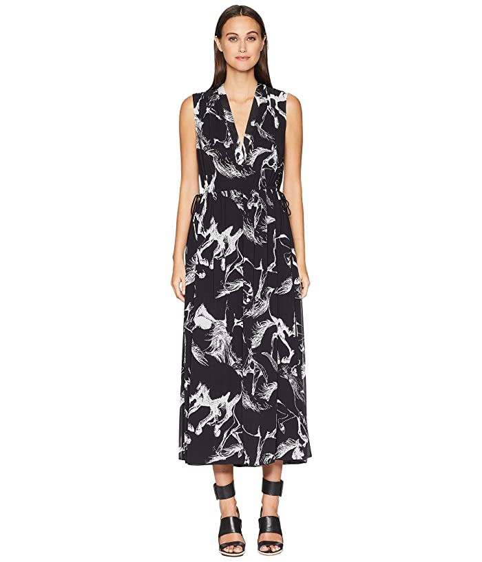 Adam Lippes Printed Pebble Chiffon Sleeve V-Neck Short Dress w/ Rouc (Black Pony) Women's Dress