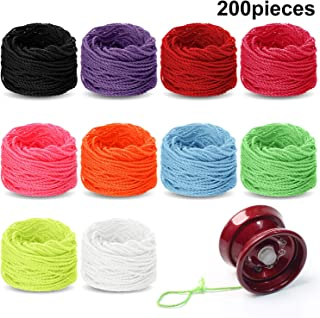 WILLBOND 200 Pieces Polyester Yoyo Strings Yoyo Replacement Strings in 10 Colors for Yo-yo Balls Lovers