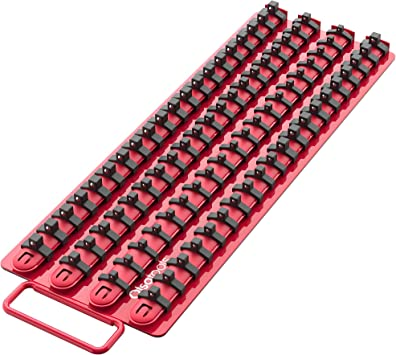 Portable Socket Organizer Tray | Red Rails Black Clips | Holds 80 Sockets | Professional Quality Socket Holder | by Olsa Tools: image