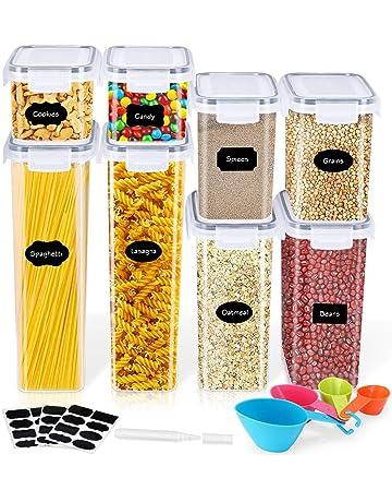Plastica Senza Bpa per Farina Cereali jingshou396 Contenitori per Alimenti contenitori per Cereali Zucchero contenitori per Alimenti secchi ermetici con coperchi