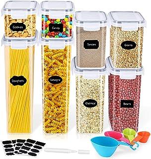 Gifort Boîtes de Conservation Alimentaire, Contenants Céréales Hermétiques avec Étiquettes, Cuillères et Marqueur, Boites ...