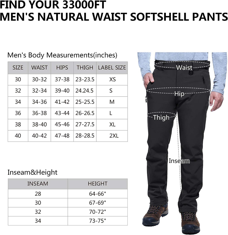 33,000ft Mens Fleece Lined Pants Softshell Ski Snow Pants Waterproof Outdoor Hiking Insulated Winter Pants