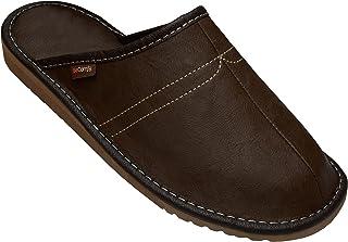 BeComfy Chaussures en Cuir pour Homme - Pantoufles en Cuir Semelle en Caoutchouc - Noir Gris Marron Bleu Marine 40 41 42 4...