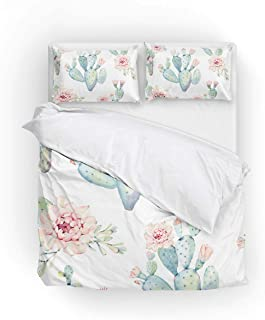 Cooper girl Watercolor Cactus Duvet Cover Set Twin Soft Microfiber Polyester 1 Duvet Cover and 1 Pillow Sham Two Piece