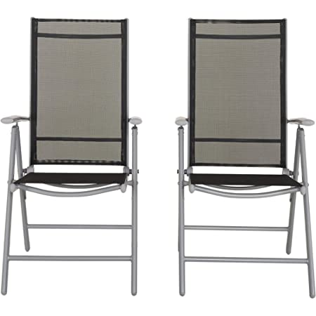 Chicreat Aluminium Folding Chair, Adjustable 7-Position High Backrest, Silver and Black (2-Pack)