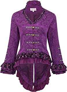 Womens Gothic Steampunk Tail Jacket Coat with Back Lacing