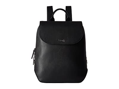 Lipault Paris Plume Elegance Leather Small Backpack (Black) Backpack Bags