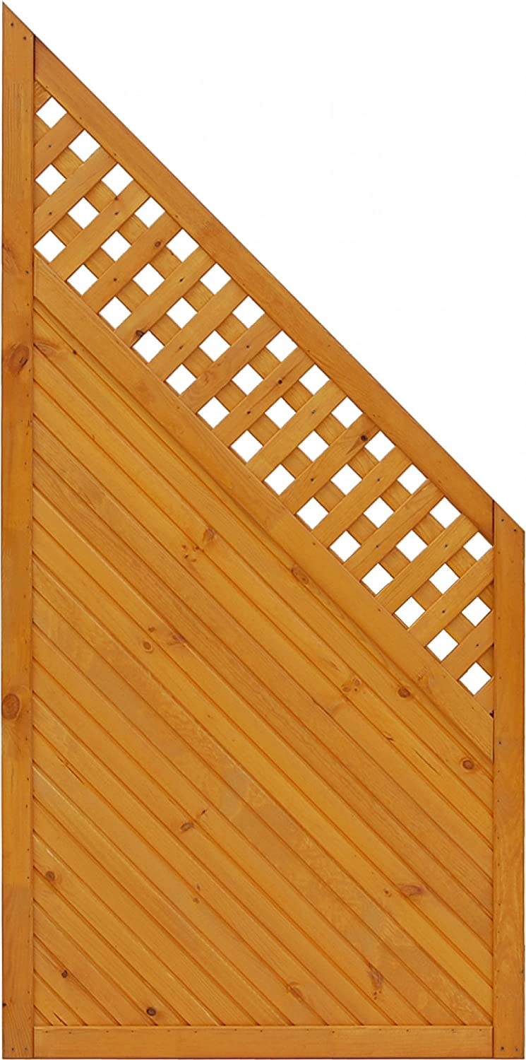 Andrewex wooden fence, fence panel, lap Wooden Fence Panels 90 180 x 90, varnished, pinie
