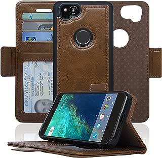 Navor Detachable Magnetic Wallet Case for Google Pixel 2 [RFID Protection] [Logo Hole] [Vajio Series]-Brown