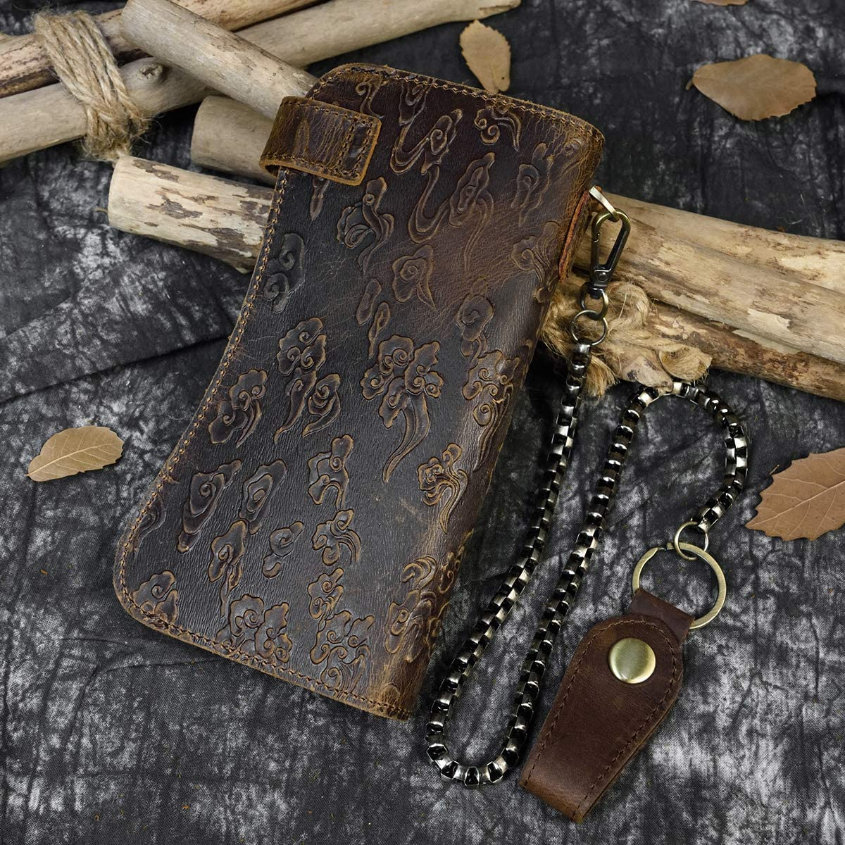Men's Genuine Leather Long Wallet Chain Wallet Card holder Wallet with Coin Pocket (Dragon)