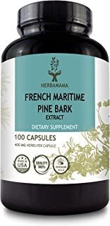 Pine Bark 100 Capsules 400 mg | Filled with Pine Bark Extract | Supports Heart Health | Max Potency | Blood Pressure Suppo...