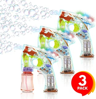 ArtCreativity Light Up Bubble Gun - Set of 3 - Medium Lightweight Design - Perfect for Summertime - Fun, Engaging and Entertaining - Party Favor, Amazing Gift Idea Boys Girls - Batteries Included