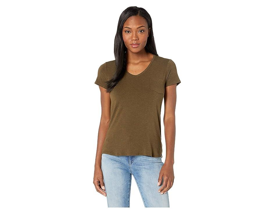 Prana Foundation Short Sleeve V-Neck Top (Slate Heather) Women